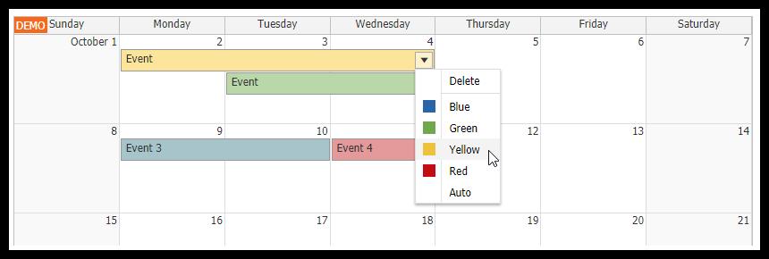 html5 monthly calendar asp.net core event color