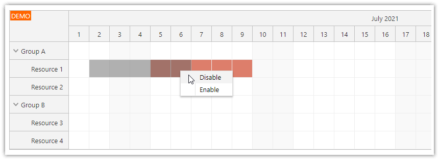 angular scheduler disable time slots using drag and drop merge