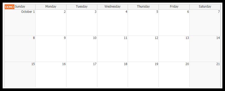 html5 monthly calendar asp.net core initialization