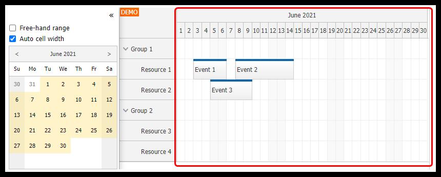 angular scheduler date navigation auto cell width