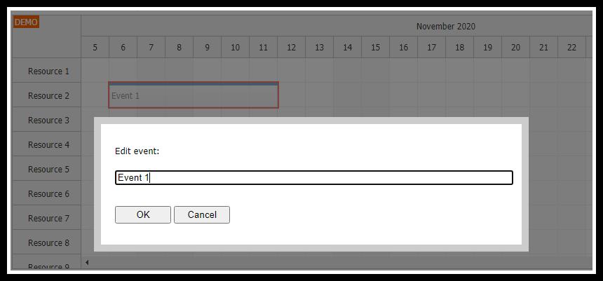 javascript scheduler keyboard navigation edit event