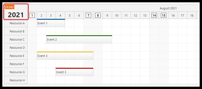 react scheduler rendering jsx in time header upper left corner
