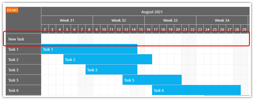 gantt chart asp.net create task