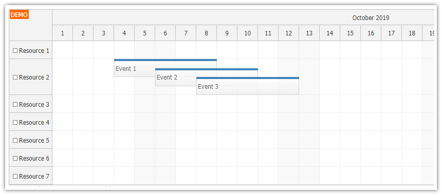 javascript scheduler event placement stacking line height