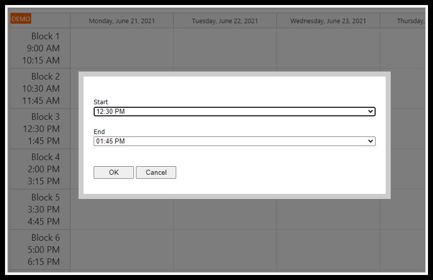asp.net timetable block edit modal dialog