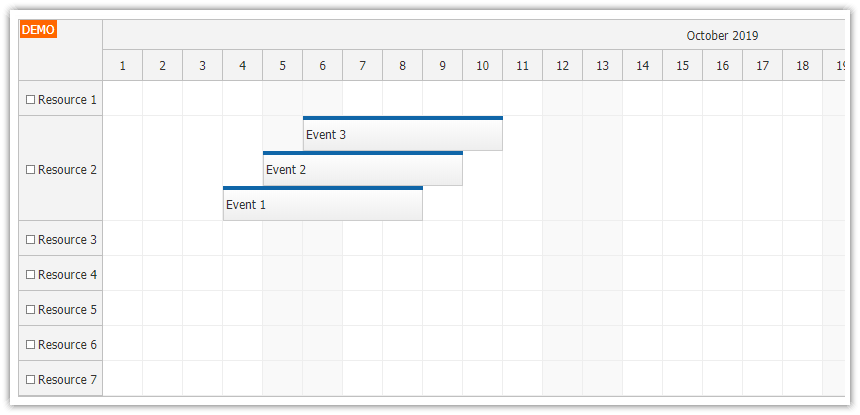 javascript scheduler event placement sorting