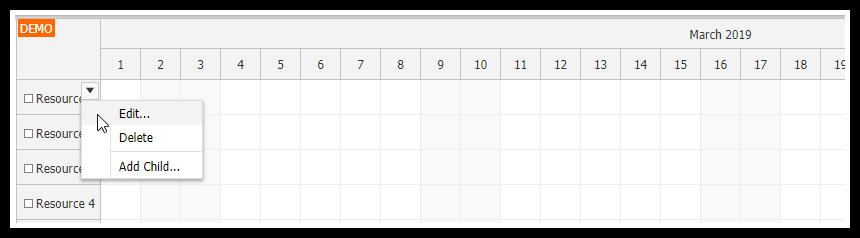 javascript scheduler resource context menu icon