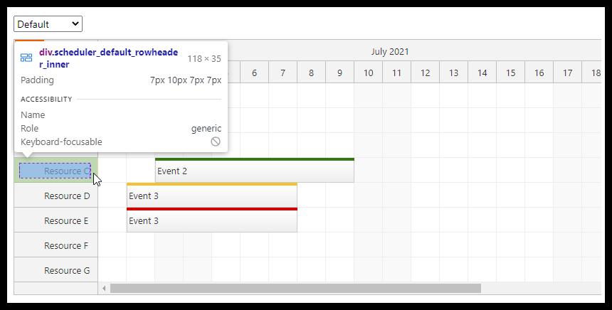 react scheduler css theme browser developer tools inspect
