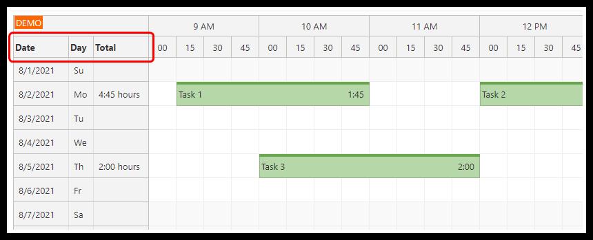 angular 12 timesheet quick start project columns