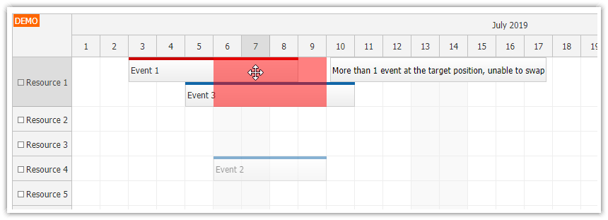 javascript scheduler event swapping drag and drop feedback