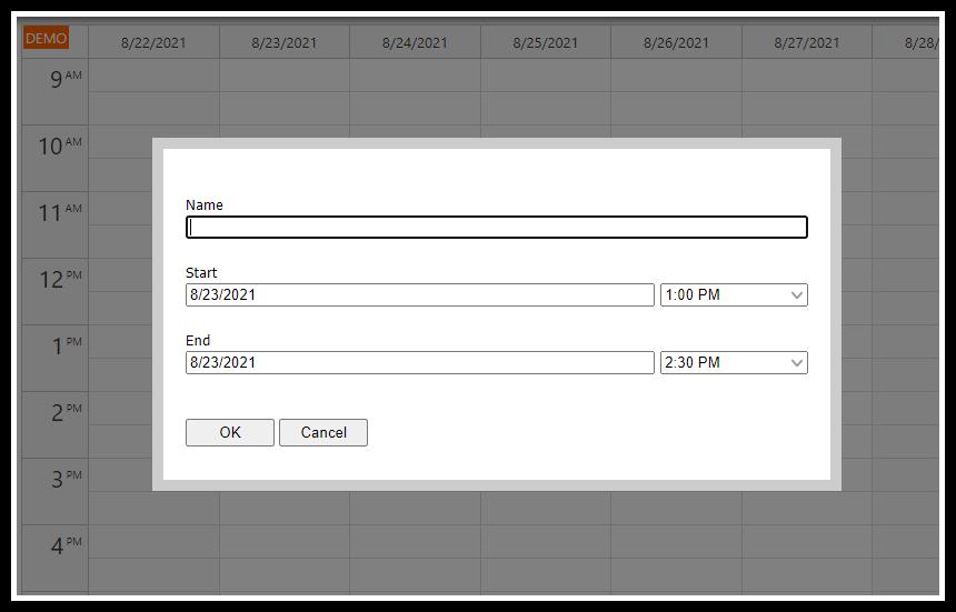 angular calendar php mysql create appointment