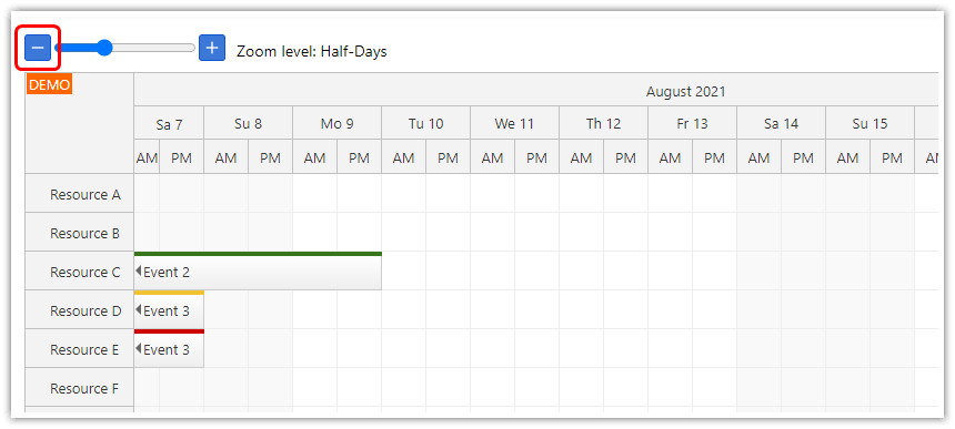 react scheduler timeline zoom out