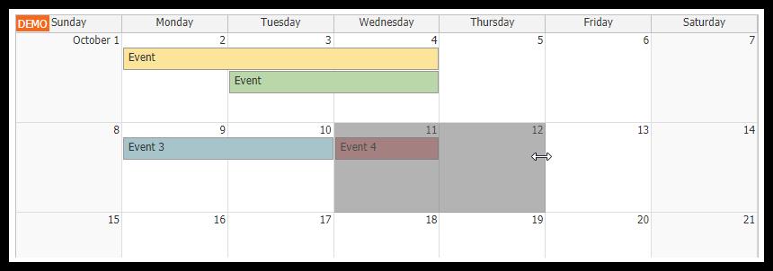 html5 monthly calendar asp.net core event moving
