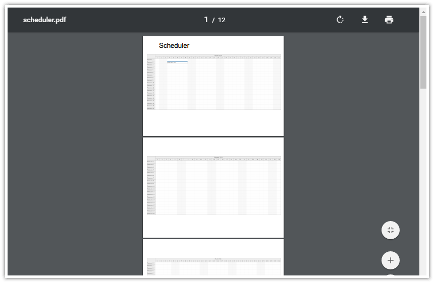 html5 scheduler pdf export multi page