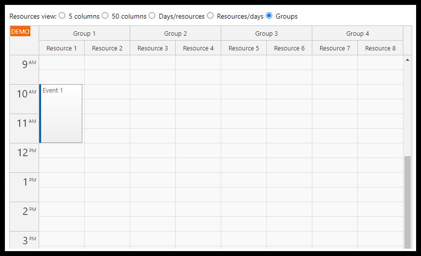react resource calendar groups