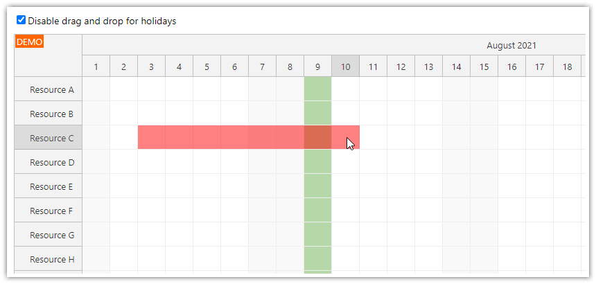 vue scheduler disabled drag and drop for holidays