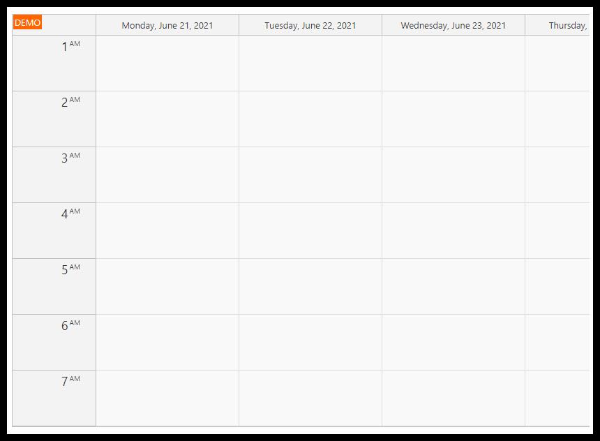 asp.net timetable default week view
