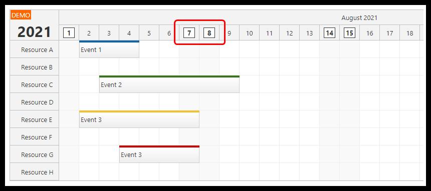 react scheduler rendering jsx in time header weekends